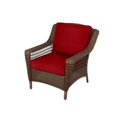 Spring Haven Brown Wicker Outdoor Patio Lounge Chair with Standard Chili Red Cushions