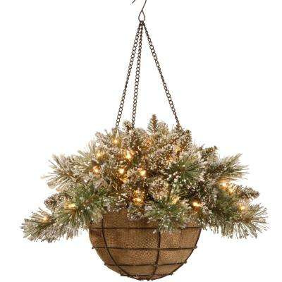 20 in. Glittery Bristle Pine Hanging Basket with Battery Operated Warm White LED Lights