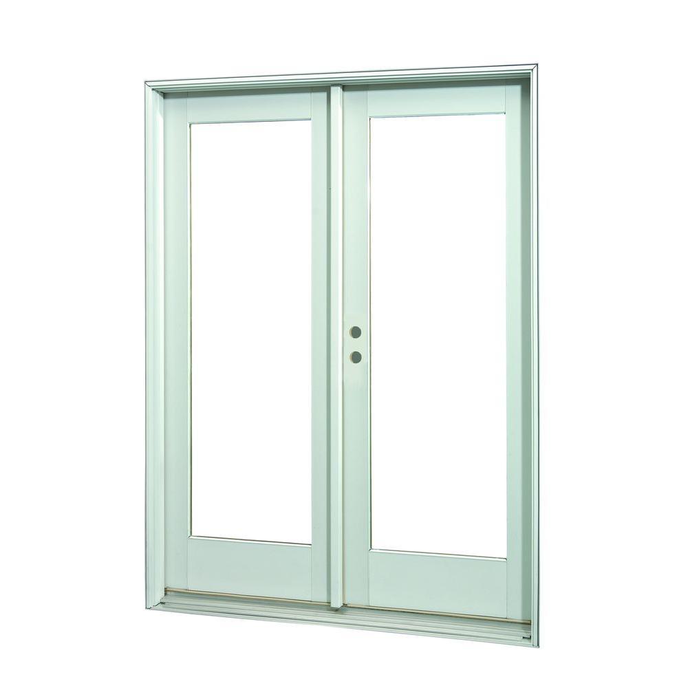 72 in. x 80 in.White Full Lite Prehung Left-Hand Inswing Patio Door