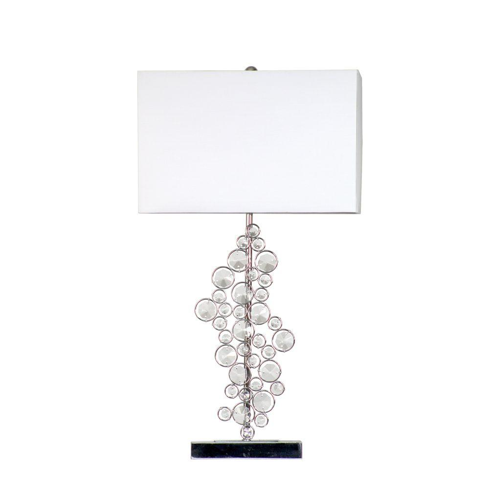 25 in. Prismatic Crystal Sequin and Chrome Table Lamp with White