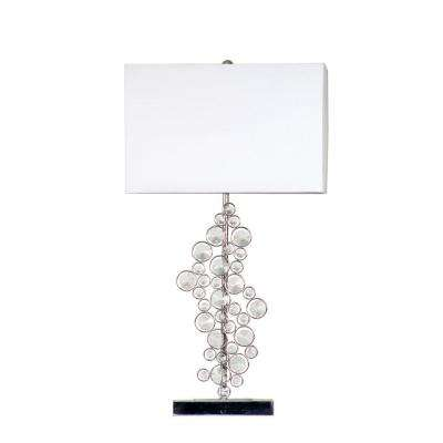 25 in. Prismatic Crystal Sequin and Chrome Table Lamp with White Shade