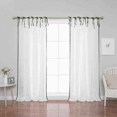 96 in. L Polyester Oxford Black Border Tie Top Curtains in White (2-Pack)