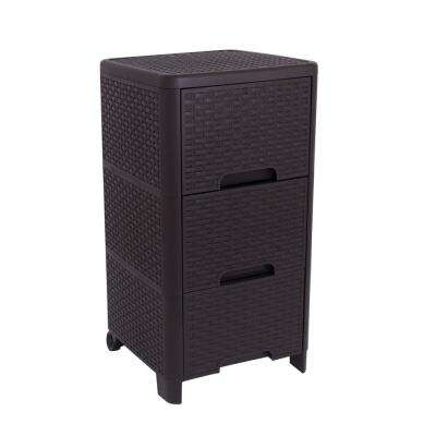 Rattan Style 3 Drawer Unit in Brown