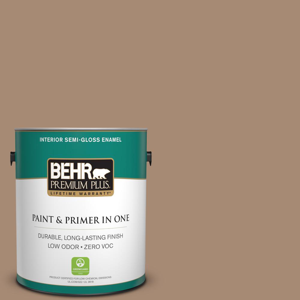 BEHR Premium Plus 1-gal. #N240-5 Rodeo Tan Semi-Gloss Enamel Interior Paint