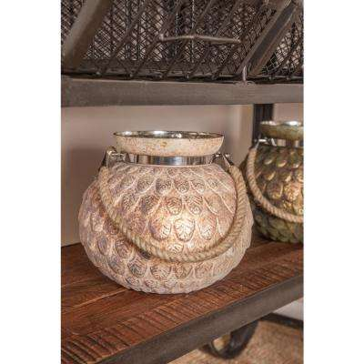 Distressed Gold Embossed Leaves Design Candle Lanterns (Set of 2)