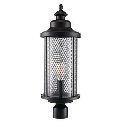 1-Light Black Post Light with Mesh Frame