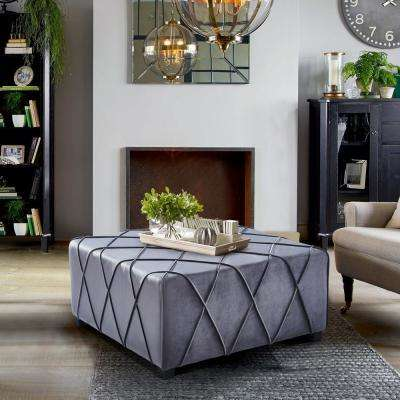 Gemini Grey Velvet Contemporary Ottoman with Piping Accents and Wood Legs