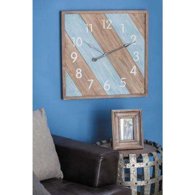 Brown and Blue Wall Clock in Distressed Wood