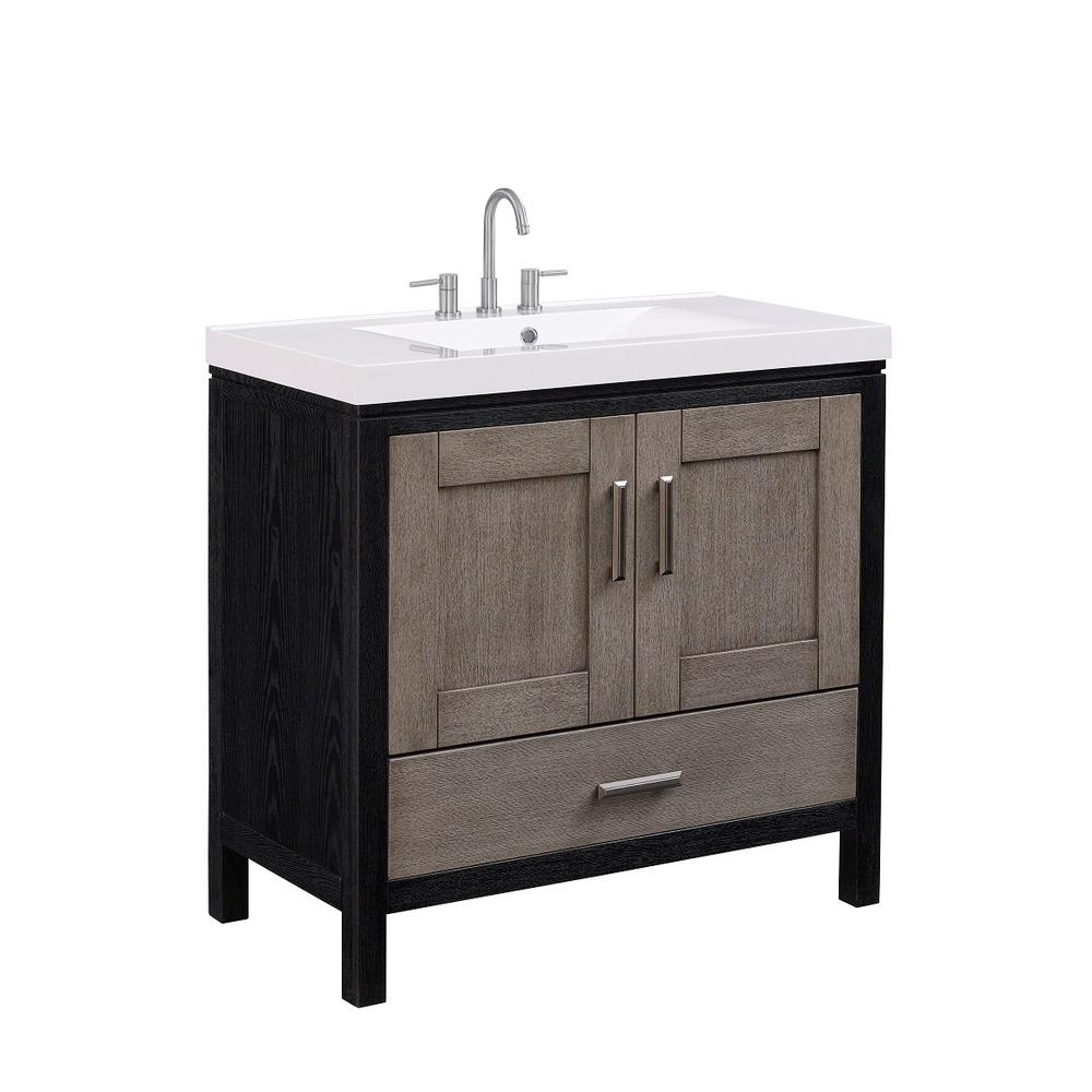 Runfine 36 in. W X 18.12 in. D X 34 in. H Vanity in Modern Grey Finish with White Cultured Marble Top and Basin