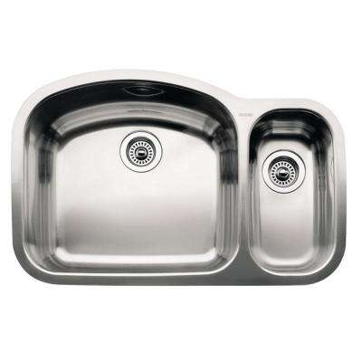 Wave Undermount Stainless Steel 32 in. 1-1/2 Double Bowl Kitchen Sink