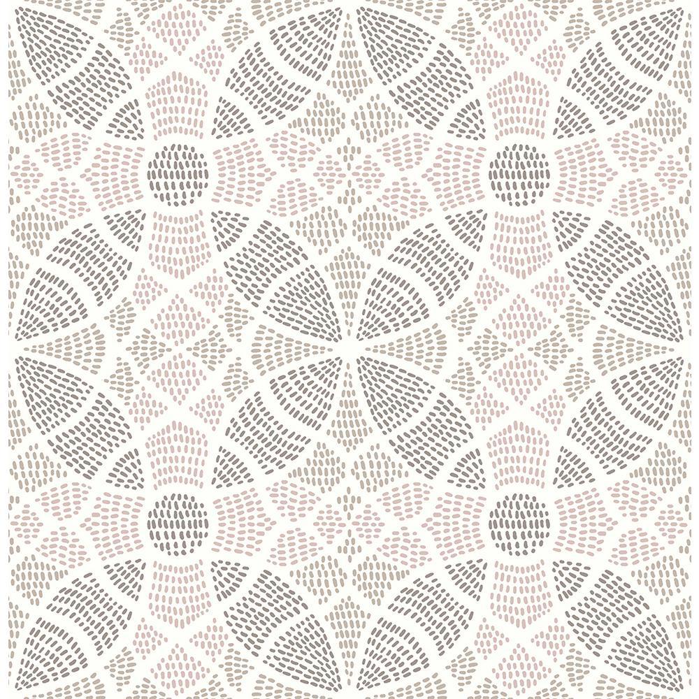 A-Street 8 in. x 10 in. Zazen Rose Geometric Wallpaper Sample