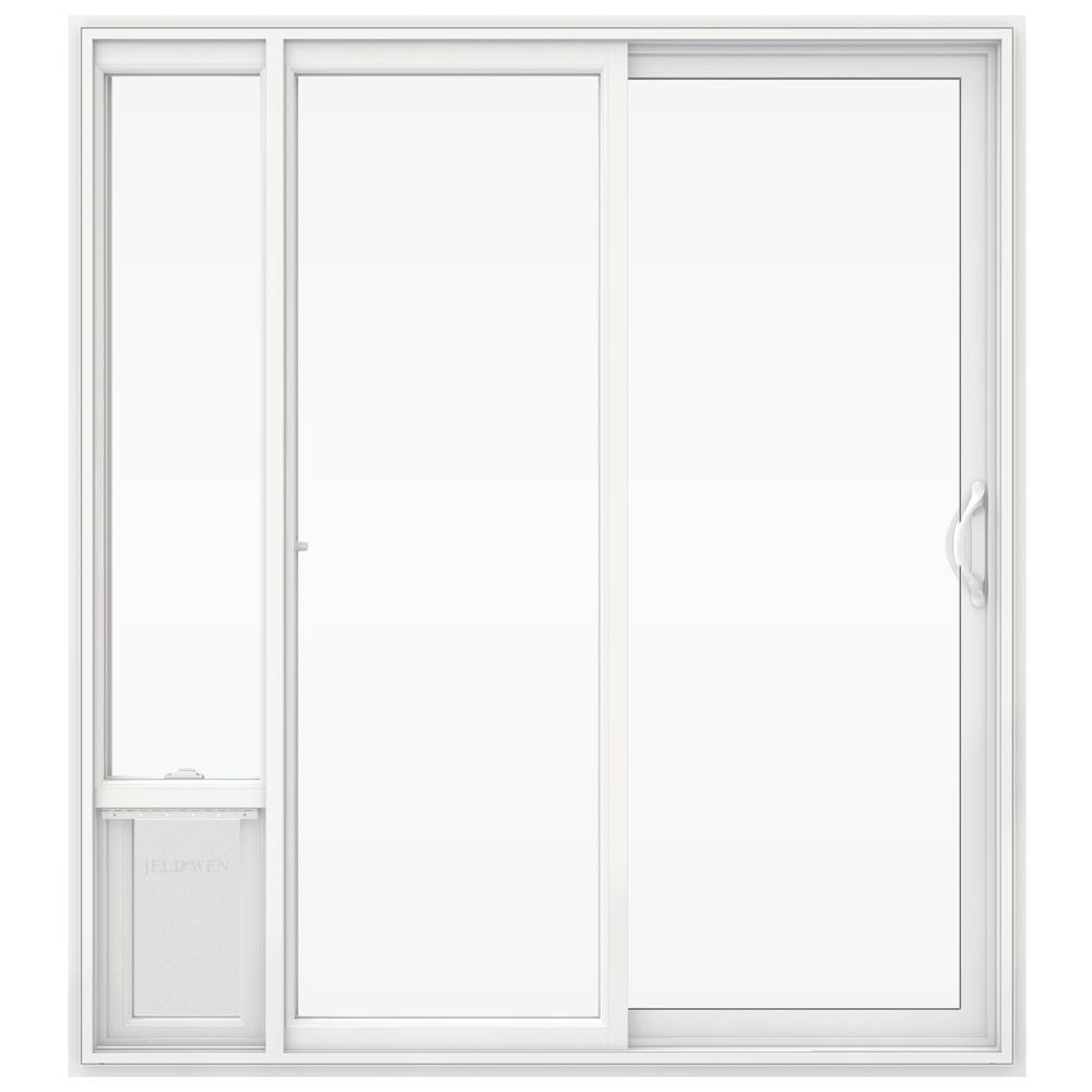 JELD WEN 72 In. X 80 In. White Right Hand Vinyl Patio Door