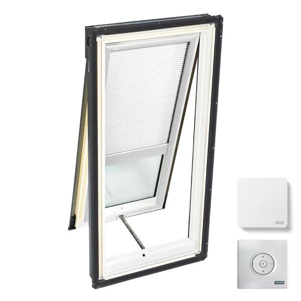 21 in. x 45-3/4 in. Venting Deck Mount Skylight with Laminated Low-E3 Glass and White Solar Powered Room Darkening Blind