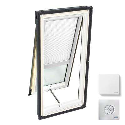 30-1/16 in. x 54-7/16 in. Venting Deck-Mount Skylight w/ Laminated Low-E3 Glass White Solar Powered Room Darkening Blind