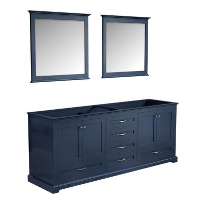 Dukes 80 in. Navy Blue Double Vanity No Top and 30 in. Mirrors