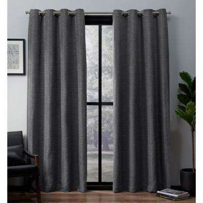 Leeds 52 in. W x 96 in. L Woven Blackout Grommet Top Curtain Panel in Black Pearl (2 Panels)