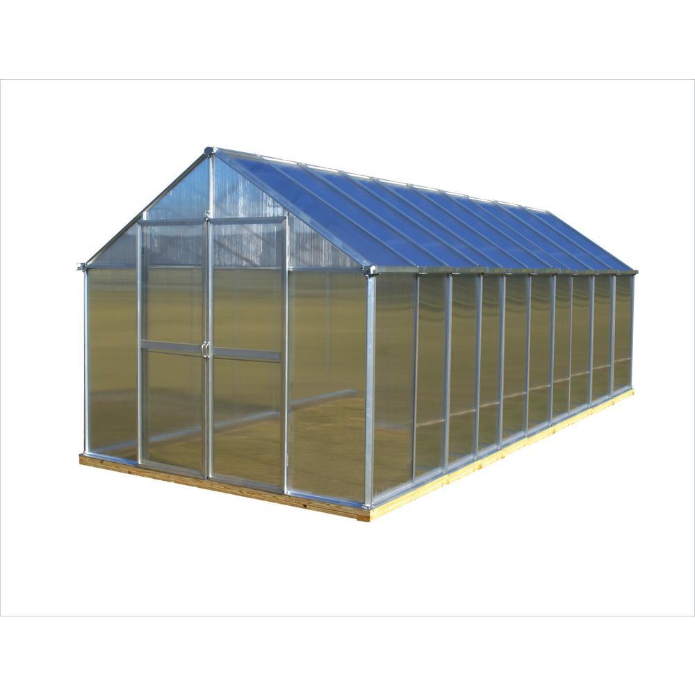 8 ft. x 20 ft. Aluminum Finish Greenhouse
