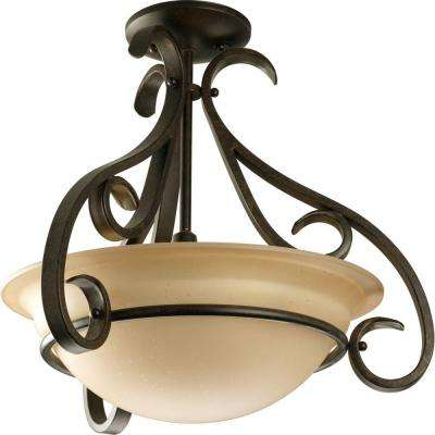 Torino Collection 3-Light Forged Bronze Semi-Flushmount