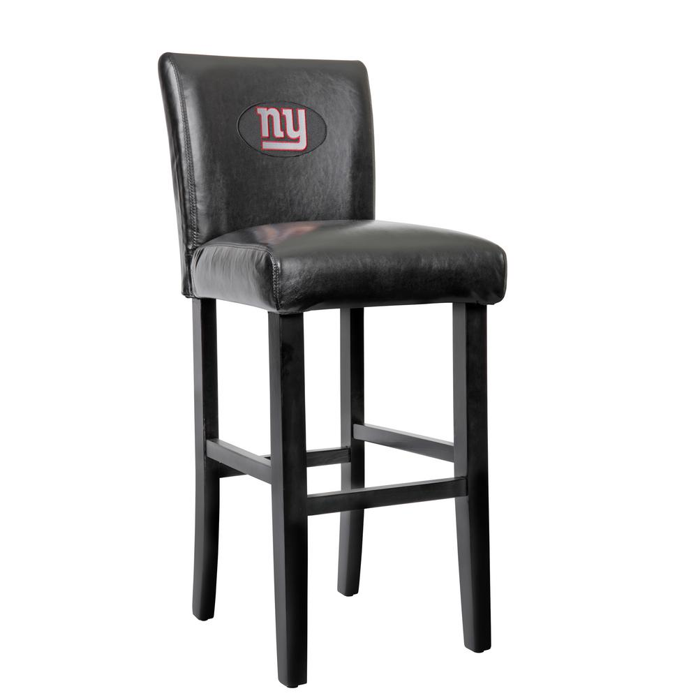 New York Giants 30 In Black Bar Stool With Faux Leather Cover Set