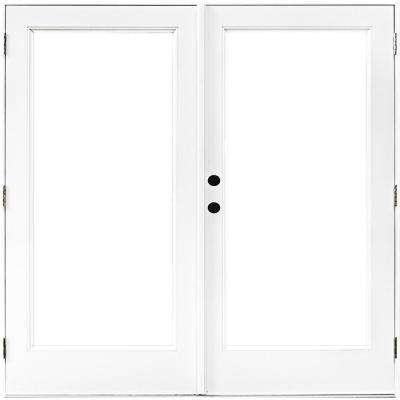72 in. x 80 in. Fiberglass Smooth White Right-Hand Outswing Hinged Patio Door