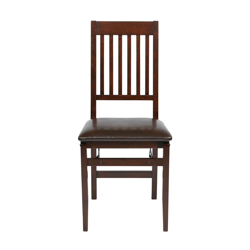 OSP Home Furnishings Espresso Faux Leather Seat Mission Back Folding Chair (Set of 2)