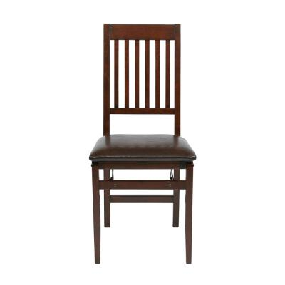 Espresso Faux Leather Seat Mission Back Folding Chair (Set of 2)