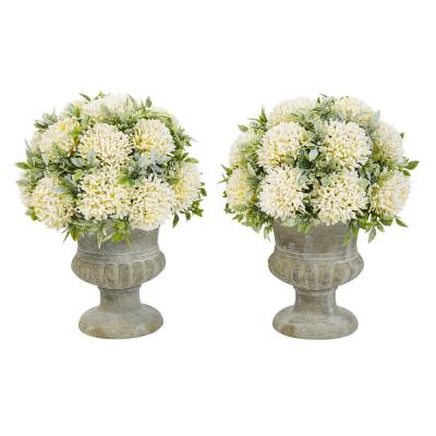 9.5 in. Faux Glitter Foliage Arrangement with Decorative Urn (Set of 2)