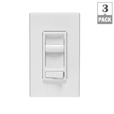 SureSlide 600-Watt Single-Pole/3-Way Incandescent-CFL-LED Slide Dimmer, White (3-Pack)
