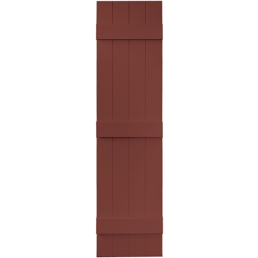 Builders Edge 14 in. x 59 in. Board-N-Batten Shutters Pair, 4 Boards Joined # 027 Burgundy Red