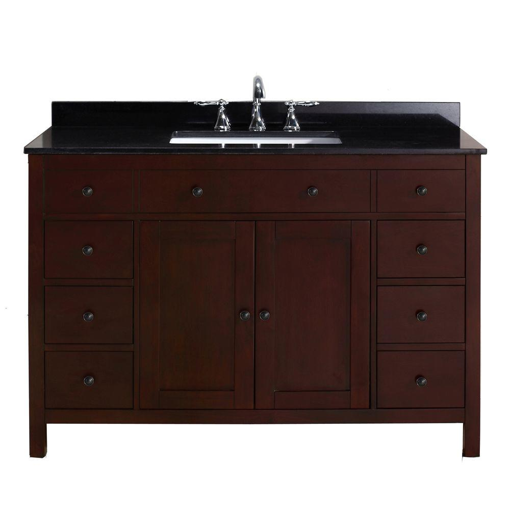 Pegasus Austen 48 in. Vanity in Dark Cherry with Granite Vanity Top in Black
