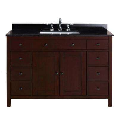 Austen 48 in. Vanity in Dark Cherry with Granite Vanity Top in Black