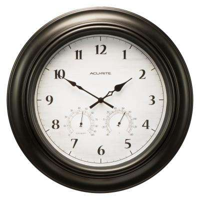 18 in. Black Clock with Thermometer and Hygrometer
