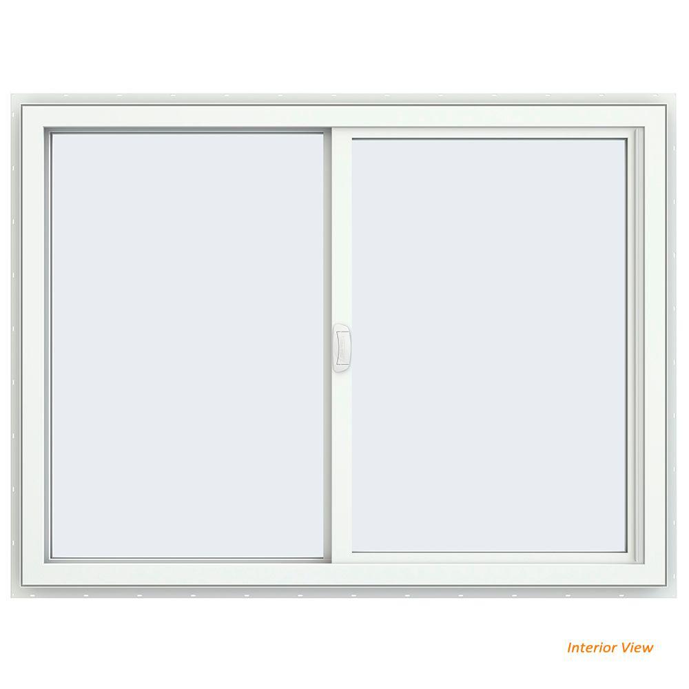 47.5 in. x 35.5 in. V-4500 Series Black Painted Vinyl Left-Handed Sliding Window with Fiberglass Mesh Screen