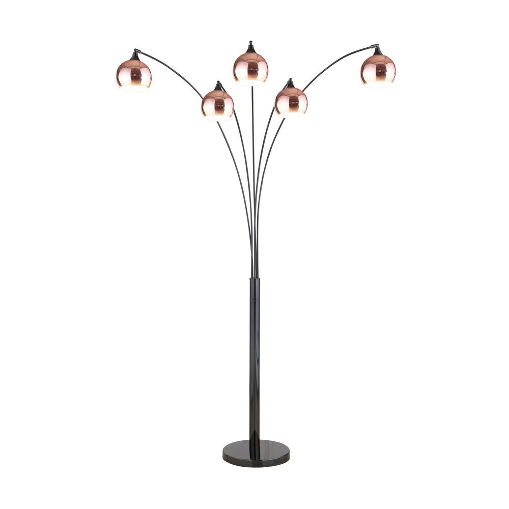 ARTIVA Amore 86 in. 2-Tone Rose Copper and Jet Black LED Tree Floor Lamp