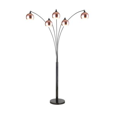 Amore 86 in. 2-Tone Rose Copper and Jet Black LED Tree Floor Lamp