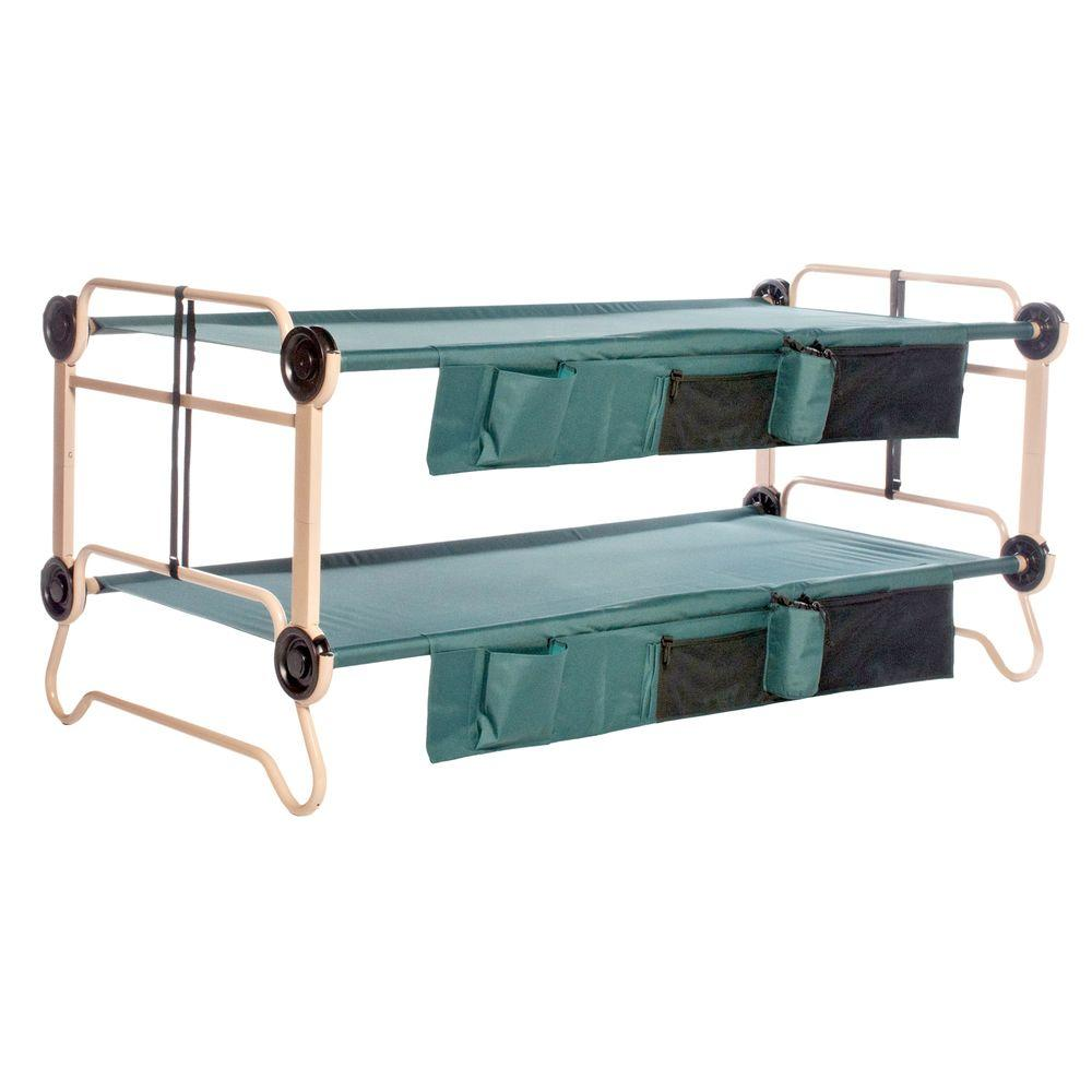 40 in. Green Bunkbable Beds with Bed Side Organizers (2-Pack)