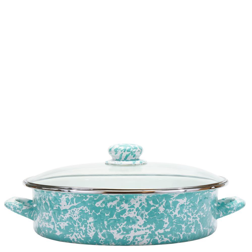 Sea Glass 8 Qt. Enamelware Saute Pan with Lid