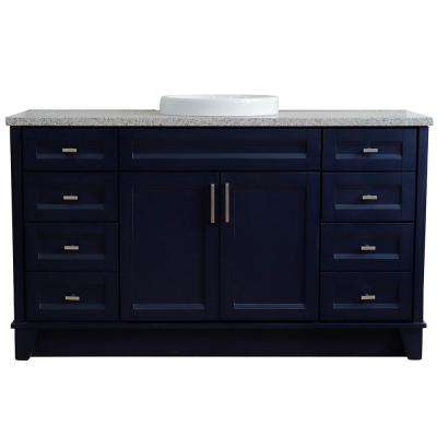 61 in. W x 22 in. D Single Bath Vanity in Blue with Granite Vanity Top in Gray with White Round Basin