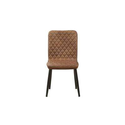Millerton Vintage Chocolate Top Grain Leather and Antique Black Side Chair
