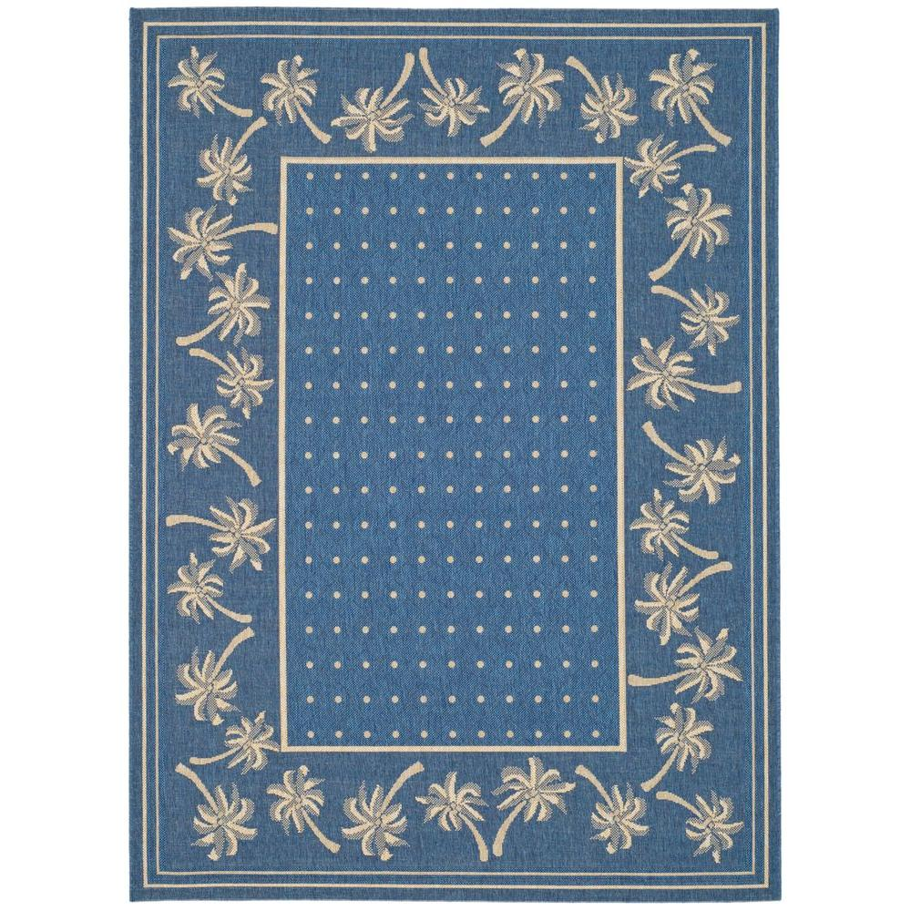 Courtyard Blue/Ivory 8 ft. x 11 ft. Indoor/Outdoor Area Rug