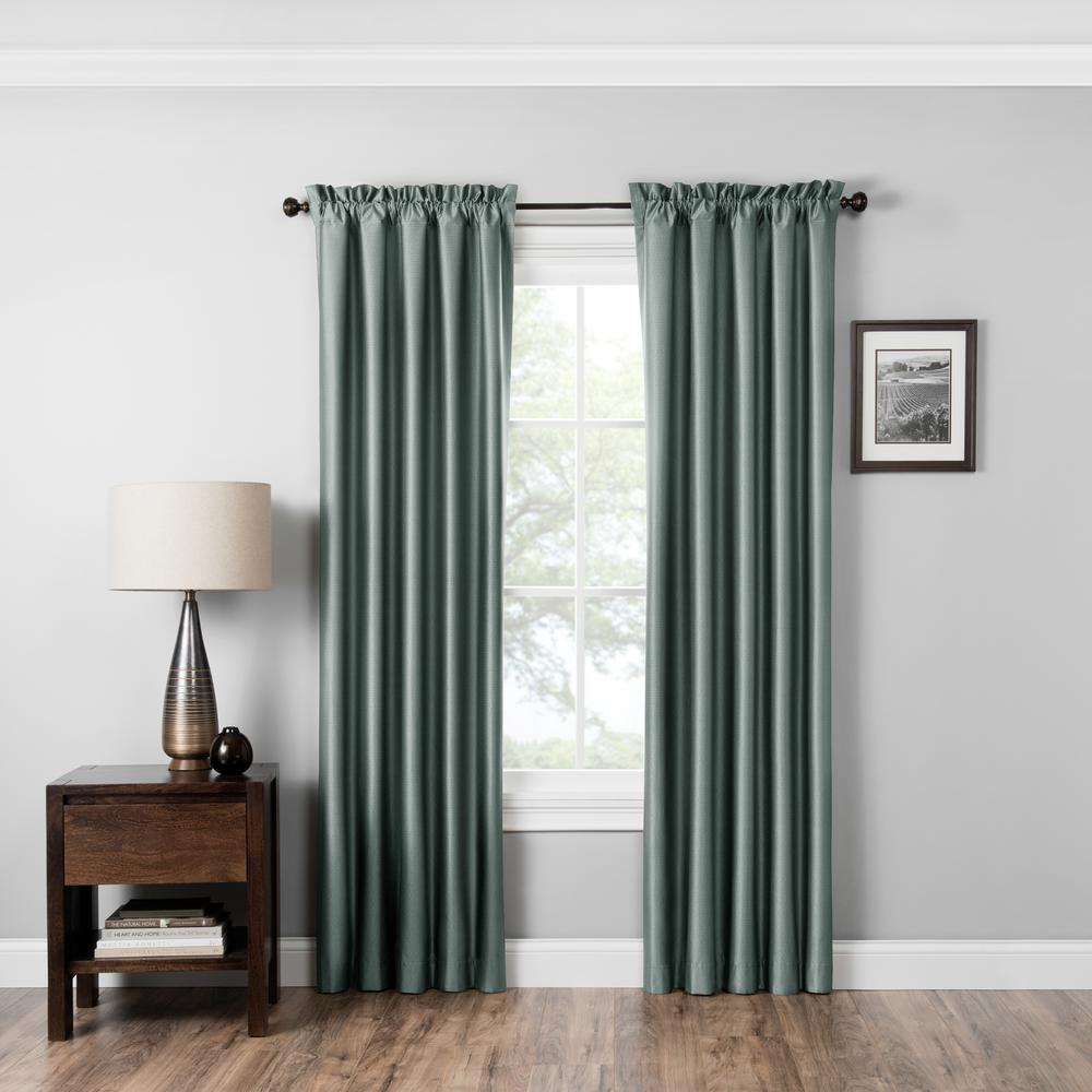 Eclipse Blackout Miles 84 In L Smokey Blue Rod Pocket Curtain 15936042x084seb The Home Depot