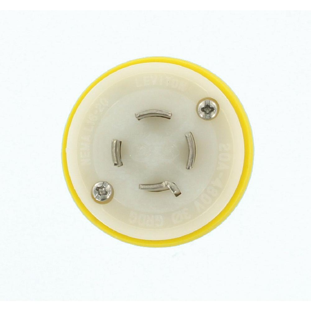 20 Amp 480-Volt 3-Phase Wetguard Locking Grounding Plug, Yellow/White