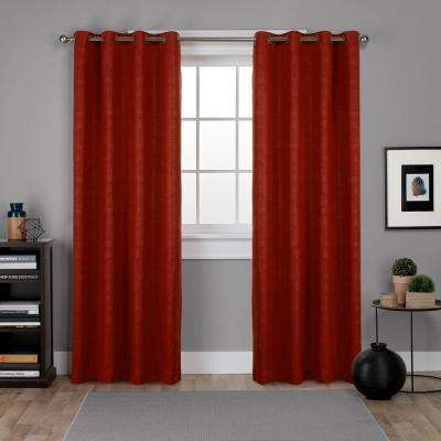 Oxford Mecca Orange Textured Sateen Thermal Grommet Top Window Curtain