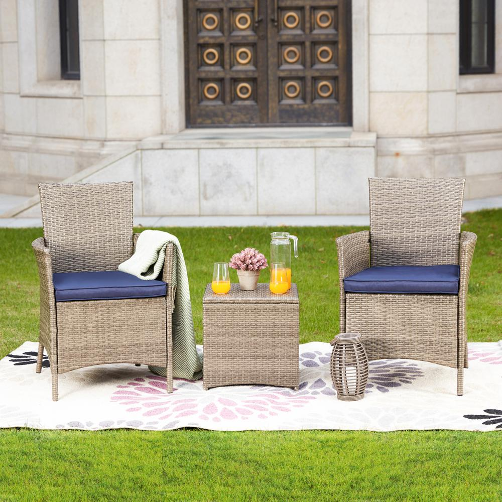 Patio Festival 3-Piece Wicker Patio Conversation Set with Blue Cushions