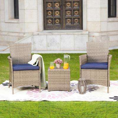 3-Piece Wicker Patio Conversation Set with Blue Cushions