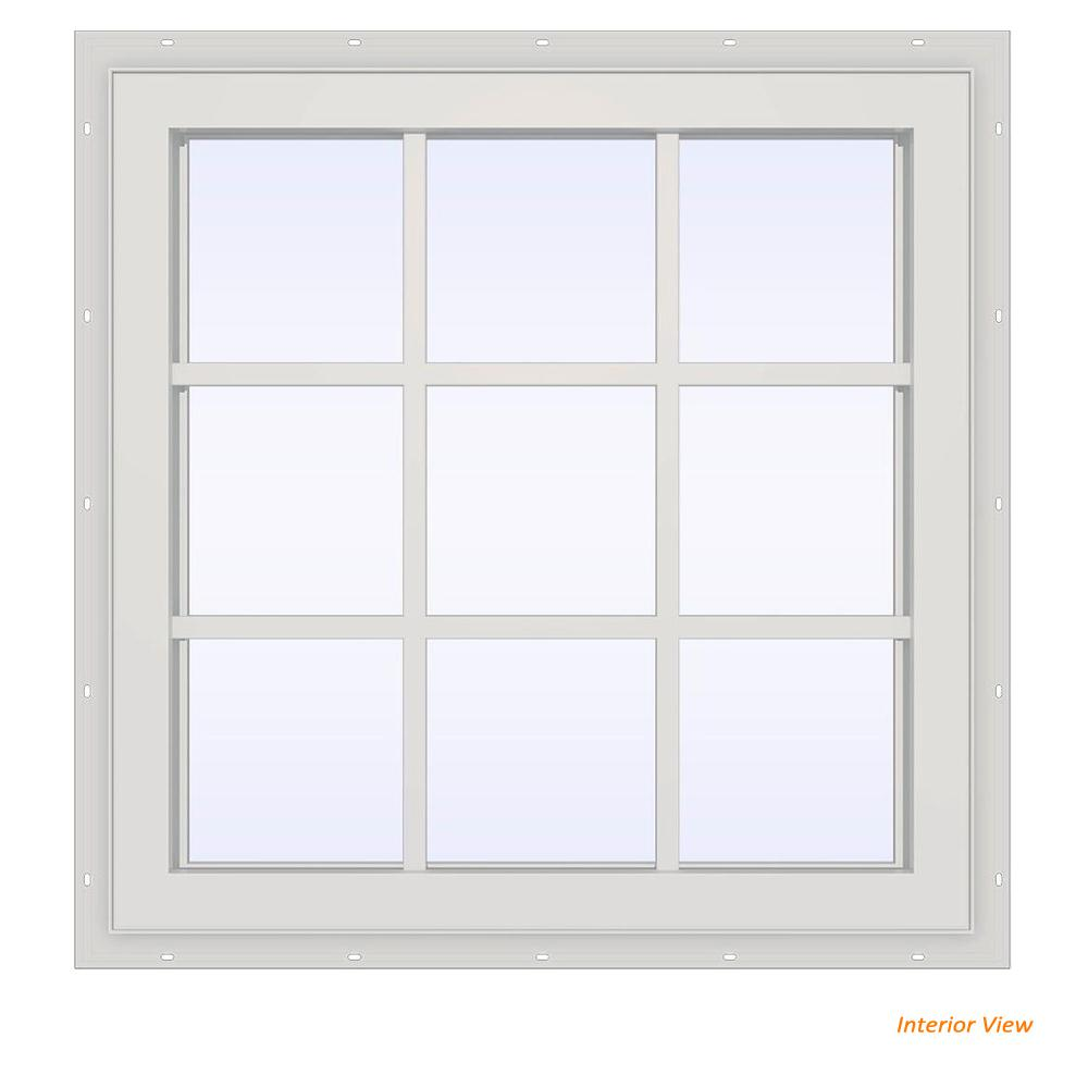 JELD-WEN 35.5 in. x 29.5 in. V-4500 Series Desert Sand Painted Vinyl Fixed Picture Window with Colonial Grids/Grilles