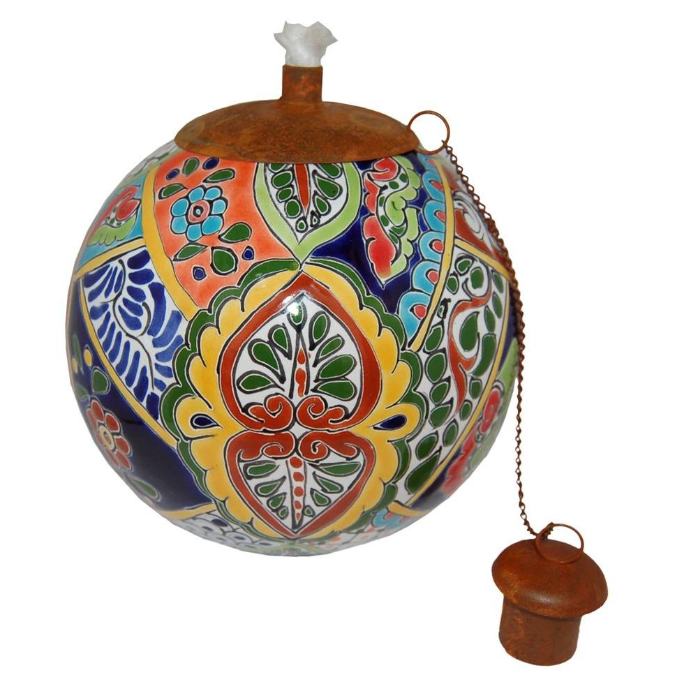 La Candela Talavera Fiesta Design Table Top Torch Jstxtalf