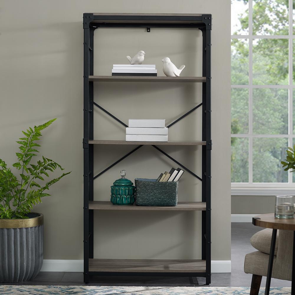 Walker Edison Furniture Company 64 In Grey Wash Rustic Urban Industrial 4 Shelf Angle