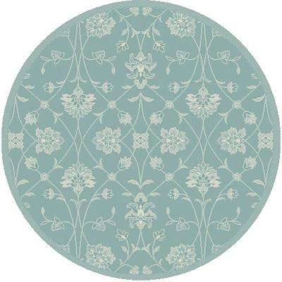 Piazza Blue 5 ft. x 5 ft. Round Indoor/Outdoor Area Rug