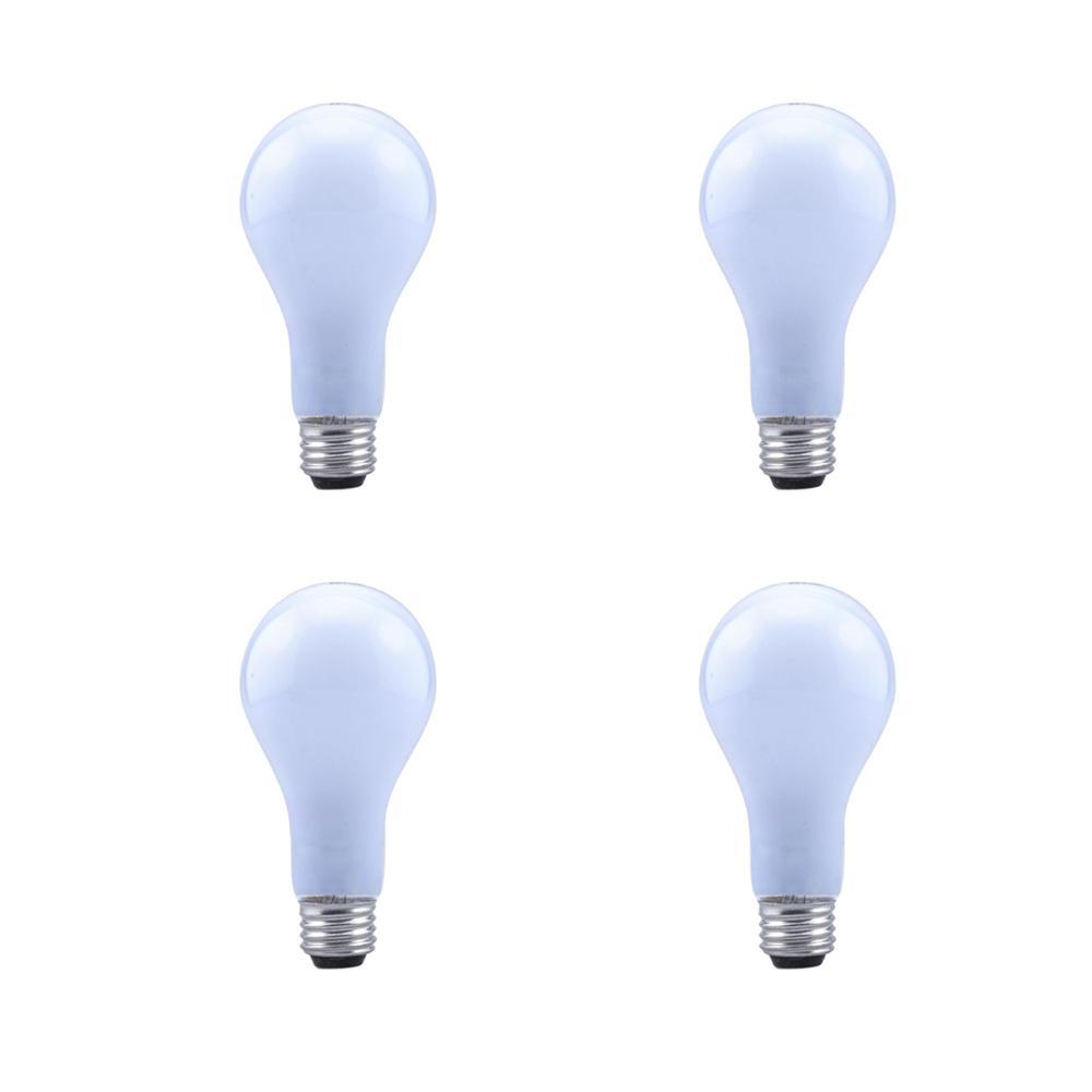 43-Watt A19 Dimmable Halogen Light Bulb Soft White (4-Pack)